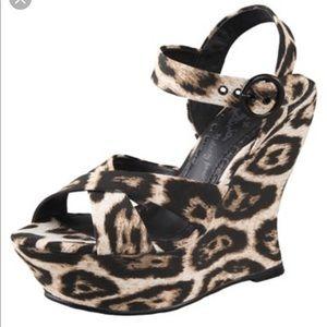 Alice + Olivia Juliet leopard print wedges shoes